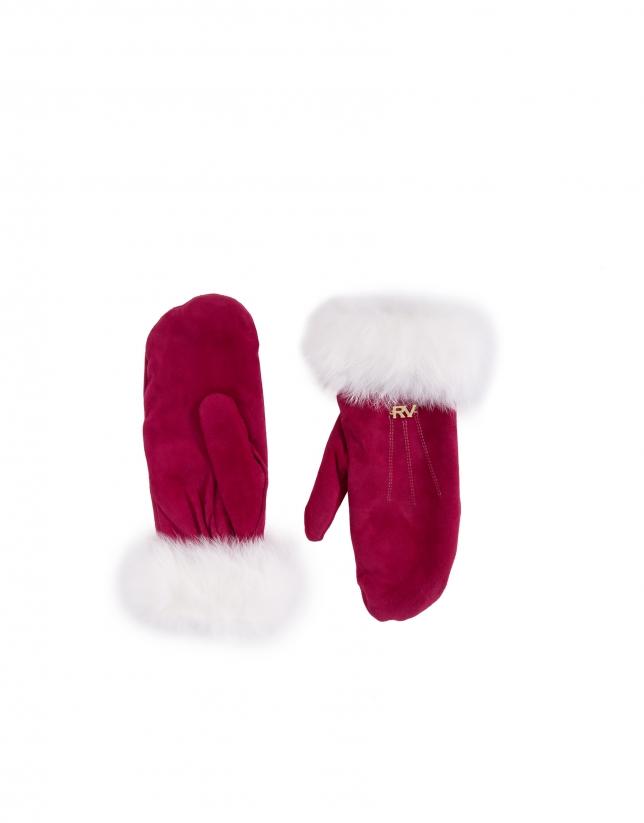 Moufle en daim rouge et poil de lapin blanc