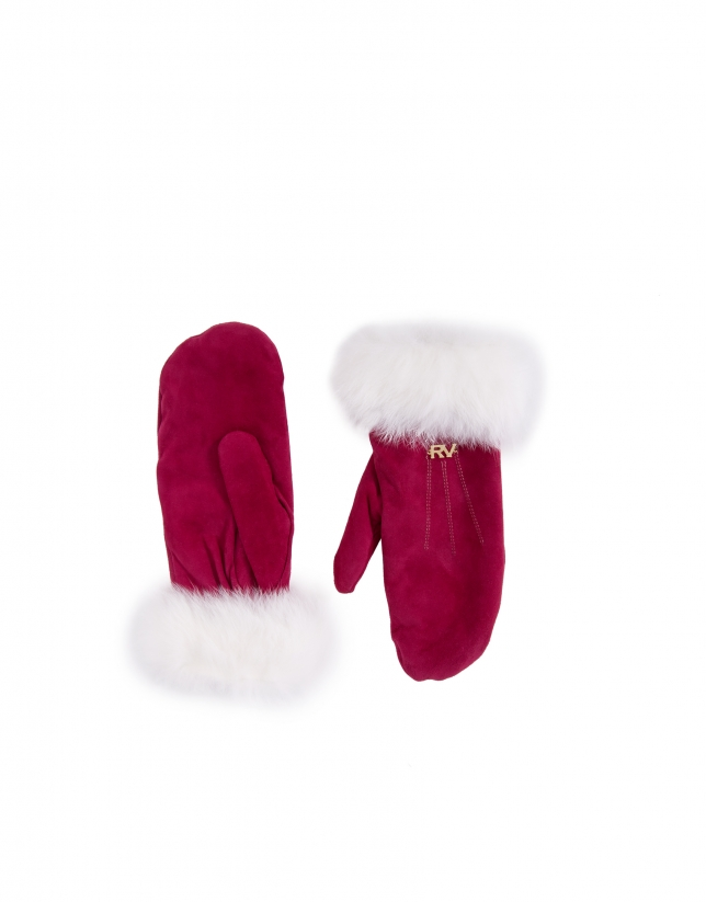 Red suede and white rabbit fur mittens