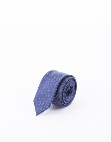 Cravate à motifs bleu marine et blancs