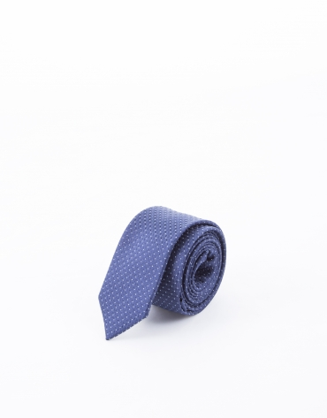 Tie with navy blue and white motifs