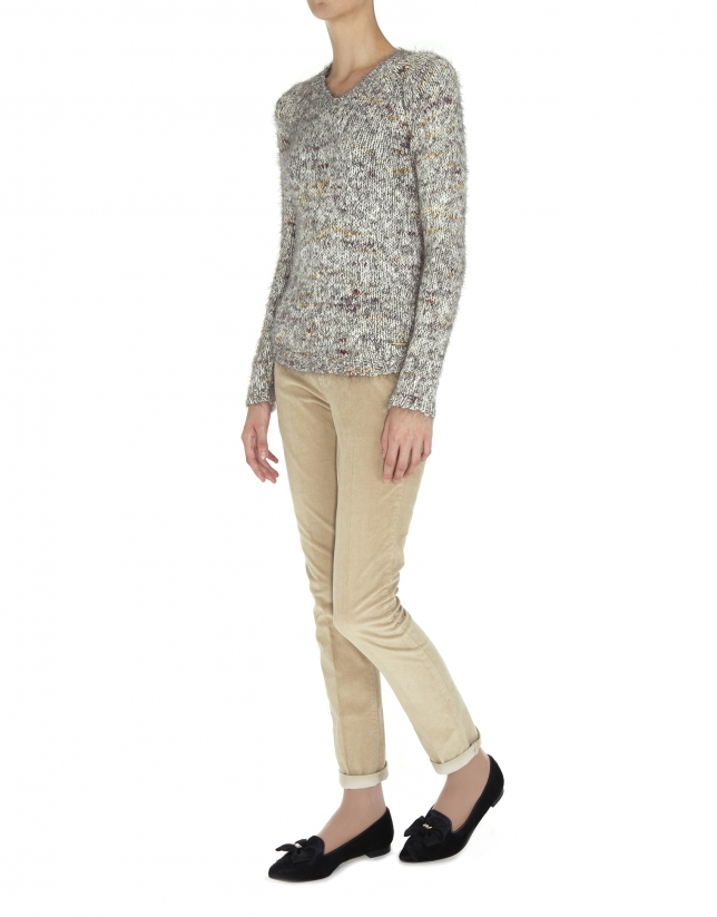 Speckled knit V neck sweater