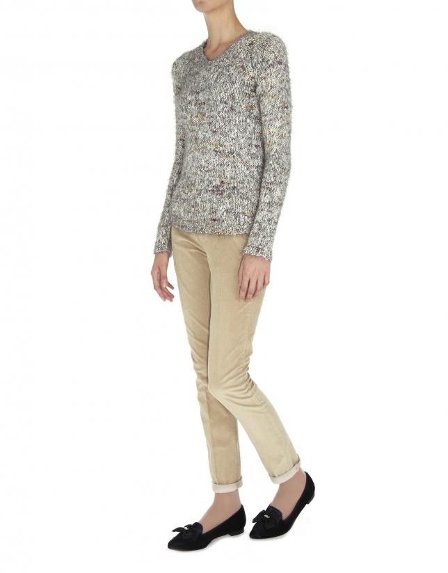Speckled knit V neck sweater