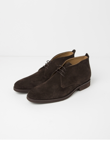 Brown split leather ankle boots