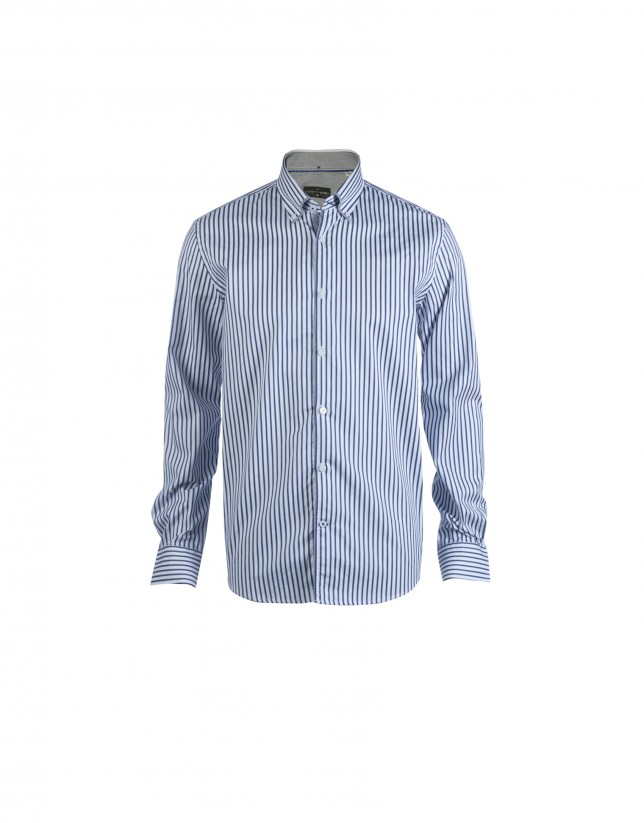Grey and blue striped casual shirt