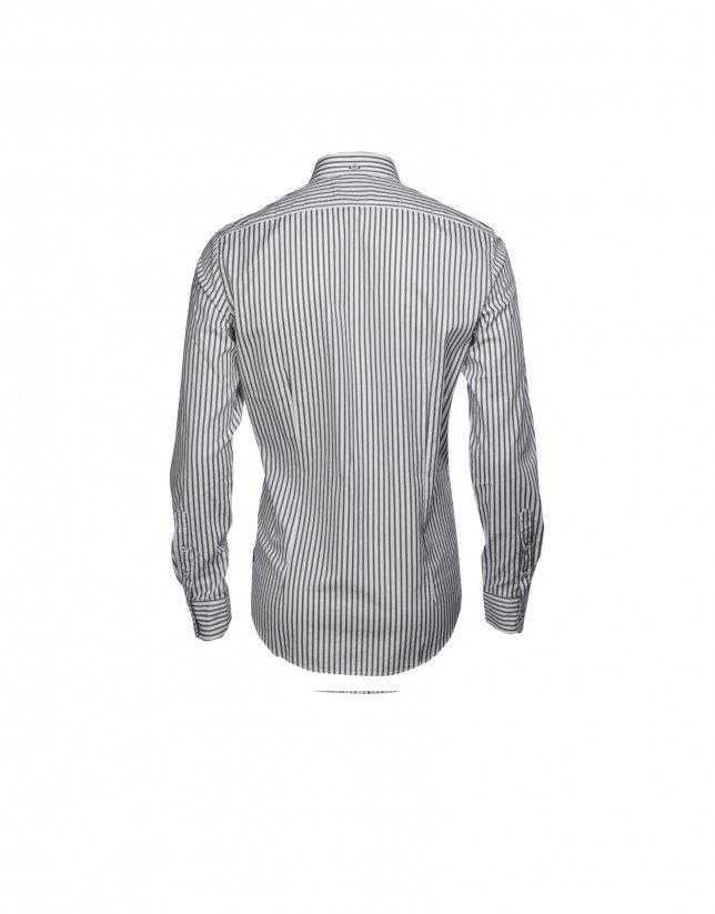 Grey and charcoal grey striped casual shirt