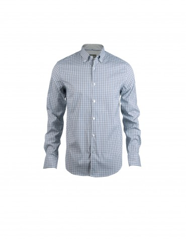 Blue, grey and purple checked casual shirt