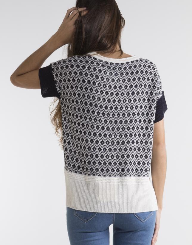 Blue / white V neck sweater
