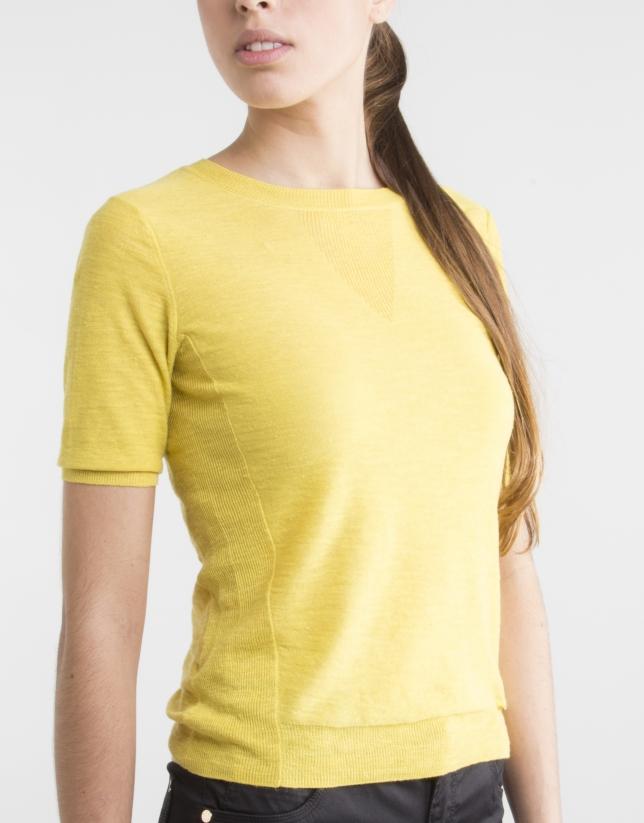 Pull jaune à manches courtes
