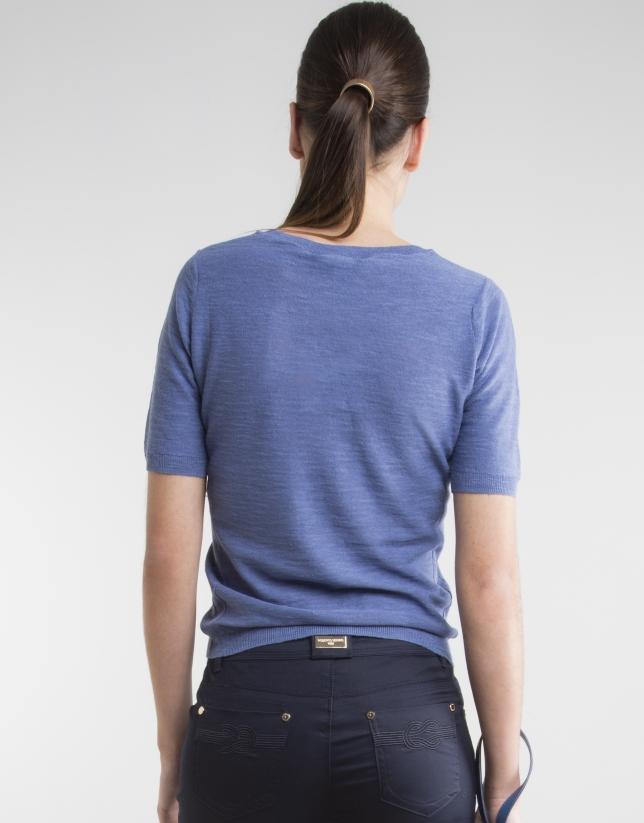 Pull bleu à manches courtes