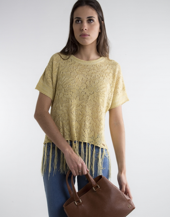 Yellow sweater with fringe