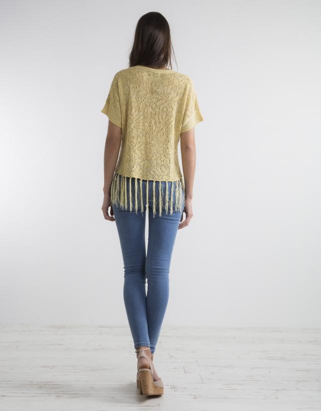 Pull jaune à franges