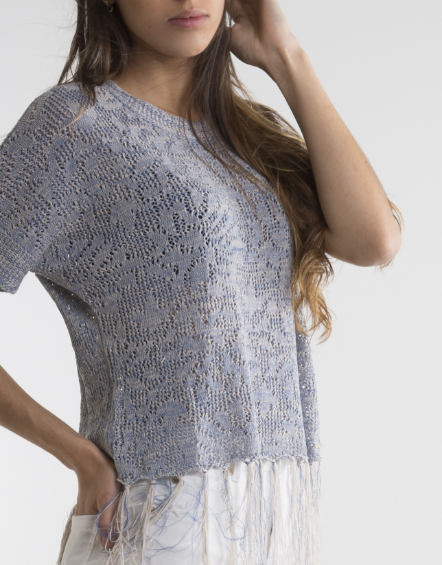 Blue sweater with fringe