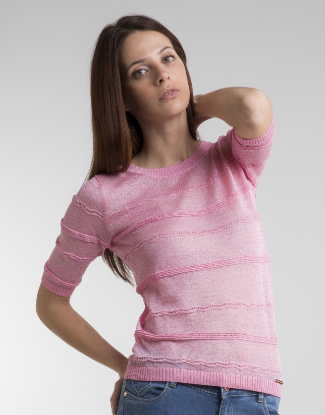 Pink sweater with trimming