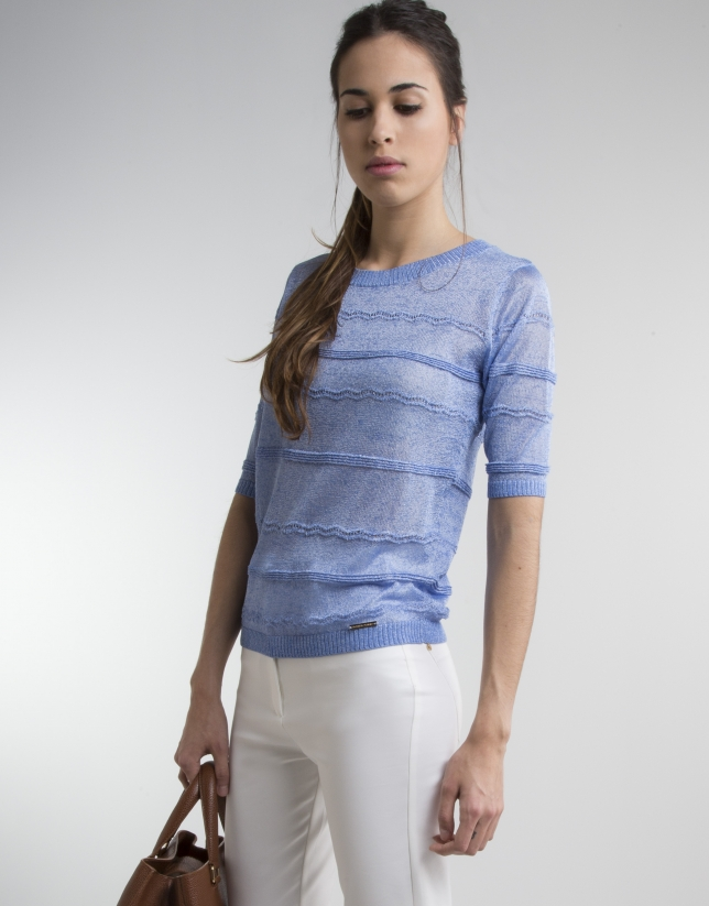 Blue sweater with trimming