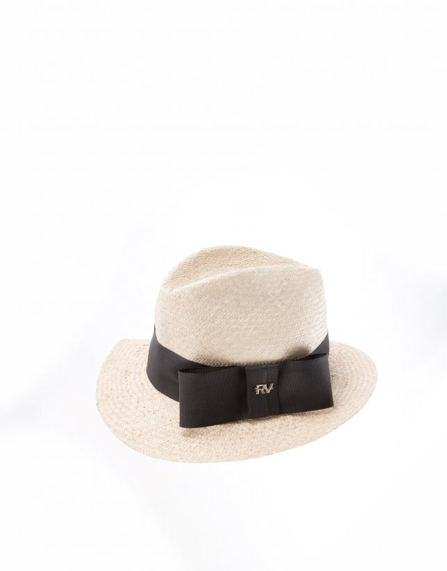 Sombrero rafia natural color arena banda y lazo  negros