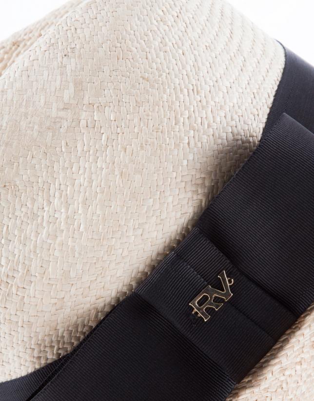 Chapeau raphia naturel couleur sable, bandeau et lacet noirs