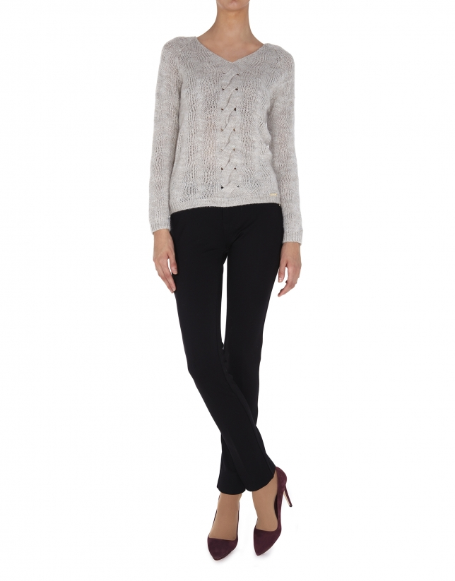 Beige V neck cable stitch sweater