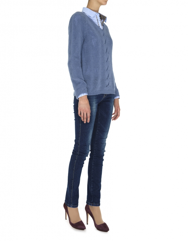 Blue V neck cable stitch sweater