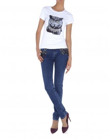 Camiseta manga corta blanca ilustración gato con strass