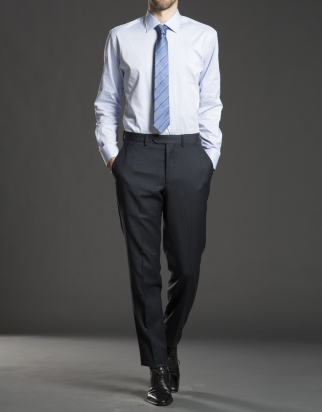 Chemise costume à rayures bleu