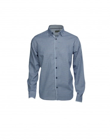 Green, navy and grey checked casual shirt