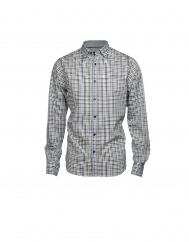 Blue and brown checked casual shirt