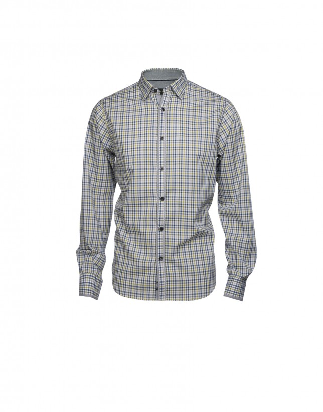 Blue and green checked casual shirt