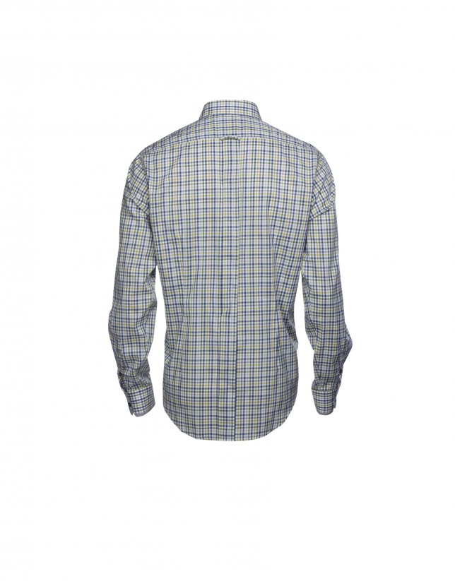 Camisa sport cuadros marrón,azul y gris