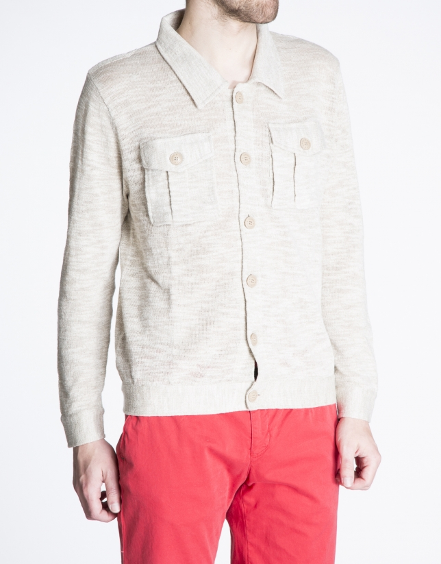 Beige knit jacket with pockets