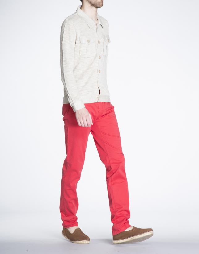 Beige knit jacket with pockets