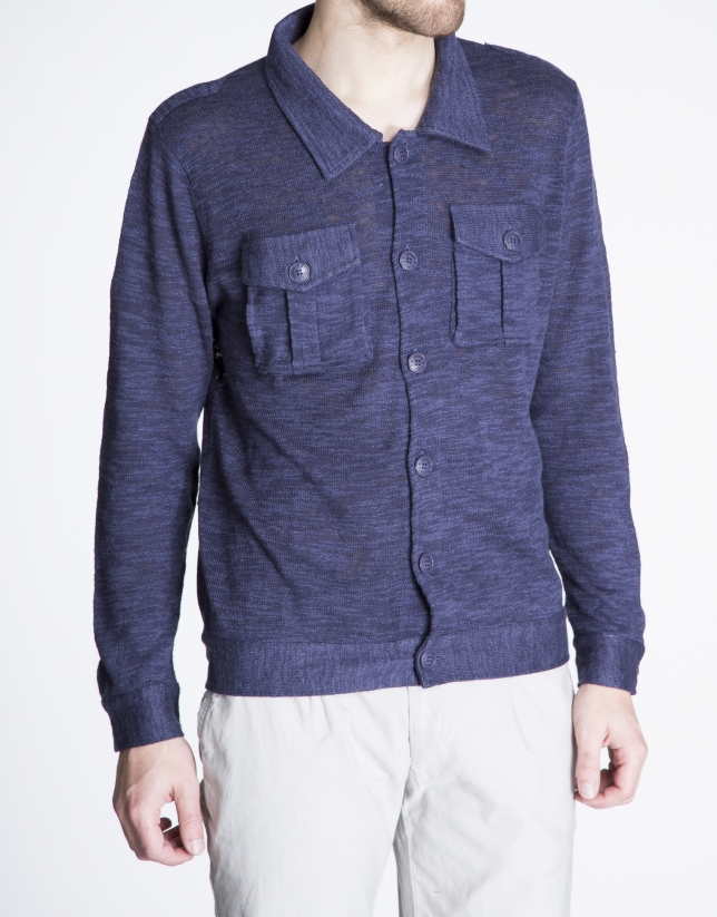 Navy blue knit jacket with pockets