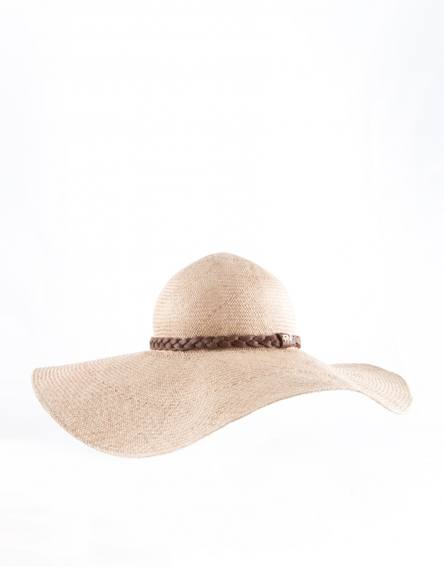 Chapeau raphia naturel couleur sable, tresse en cuir marron