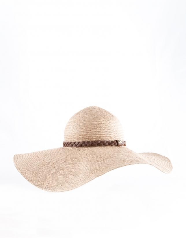Chapeau raphia naturel couleur sable, tresse en cuir marron