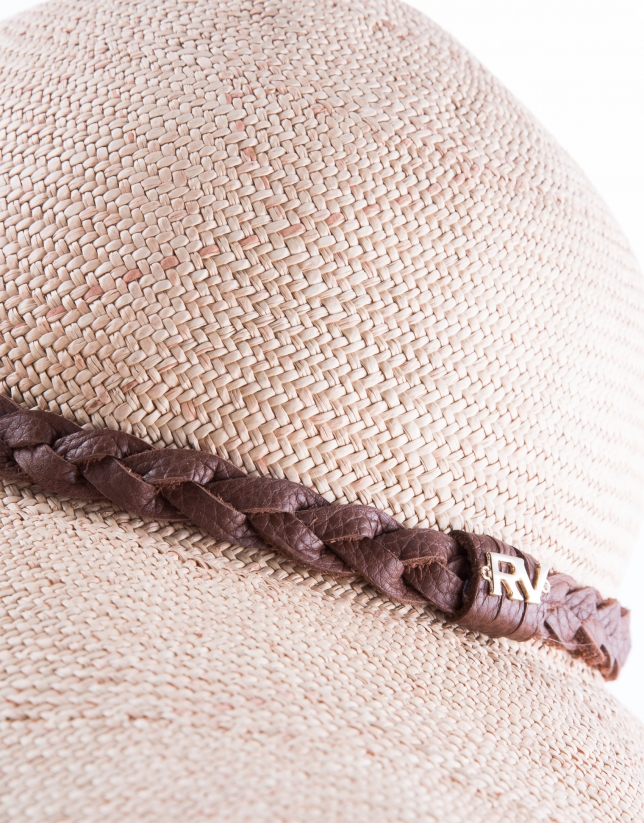 Natural raffia hat with brown leather braid