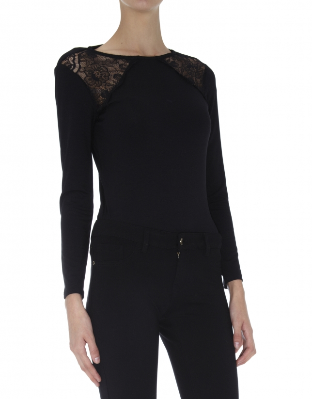 Black long sleeved top with lace shoulders