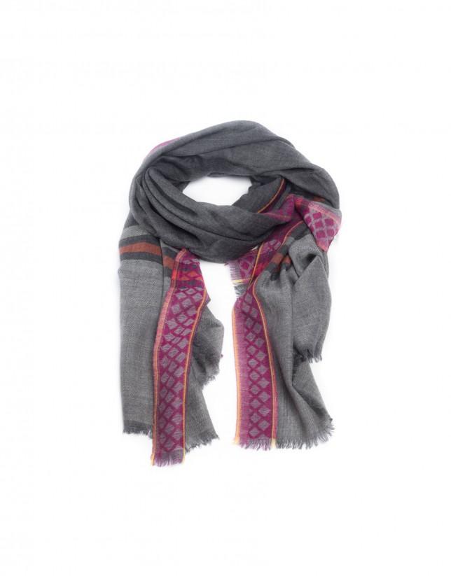 Grey wool print shawl
