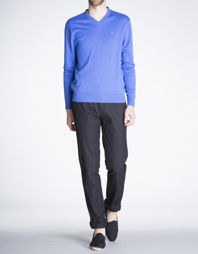 Basic blue knit sweater