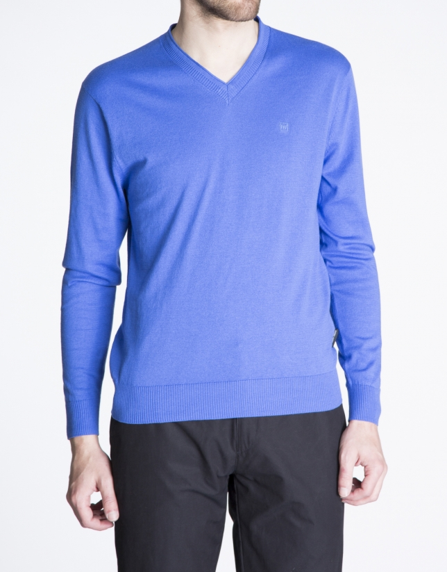 Basic blue knit sweater
