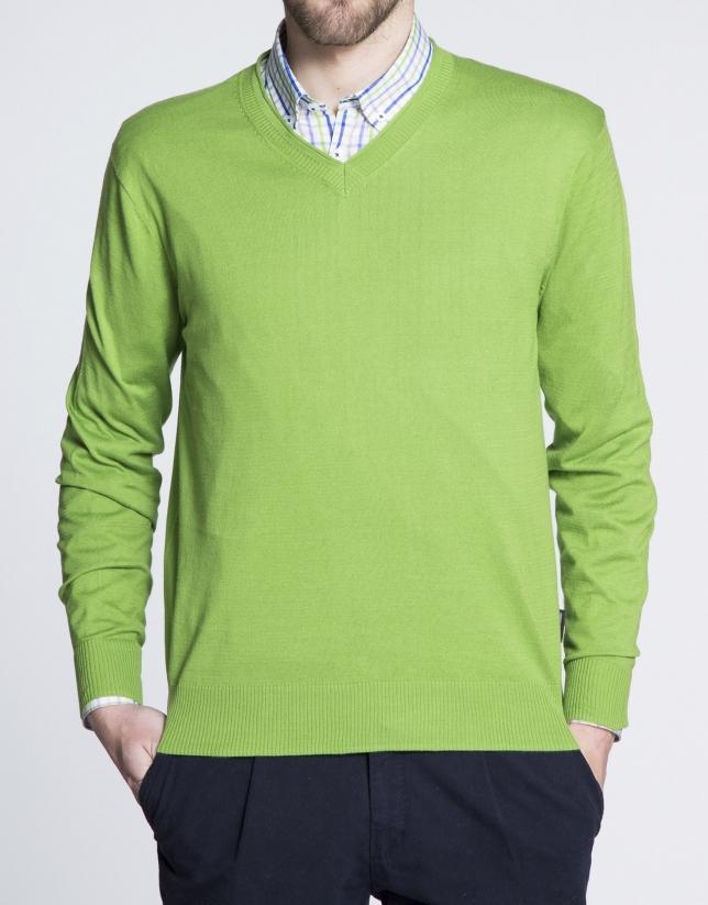 Jersey verde punto básico