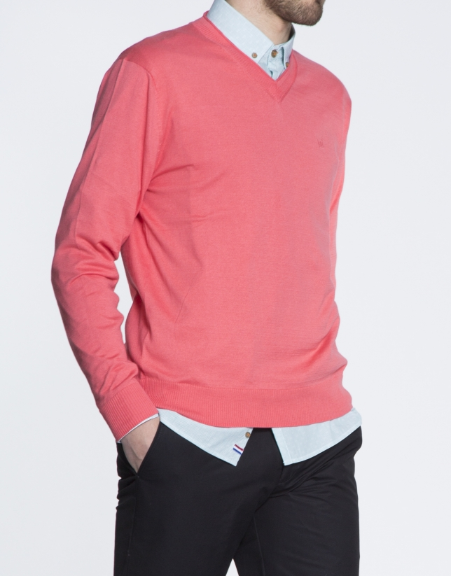 Pull basique corail