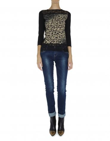 Camiseta manga larga tejido combinado estampado animal con encaje