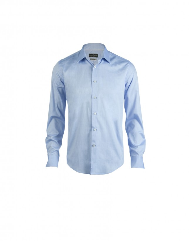 Blue oxford-cloth formal shirt