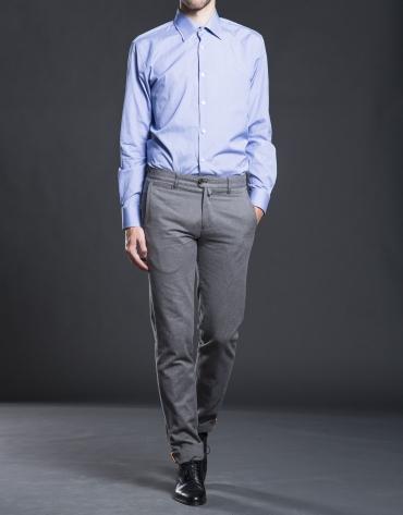 Chemise costume mini pied-de-poule bleu