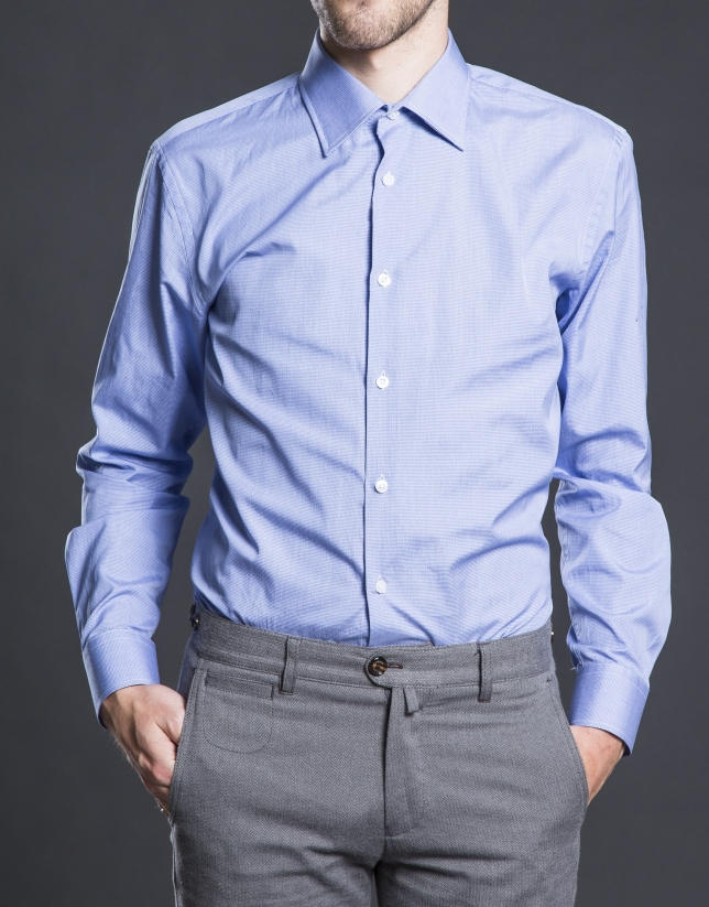 Blue mini hound's-tooth dress shirt