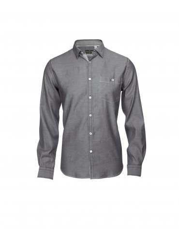 Brown/white casual shirt with elbow patches