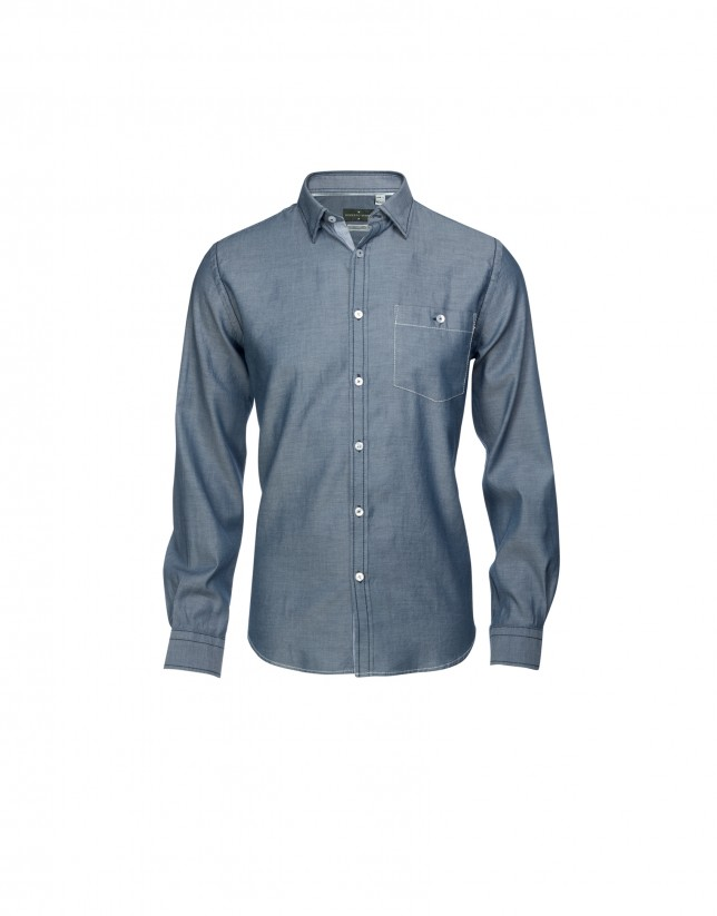 Camisa sport azul blanco con coderas