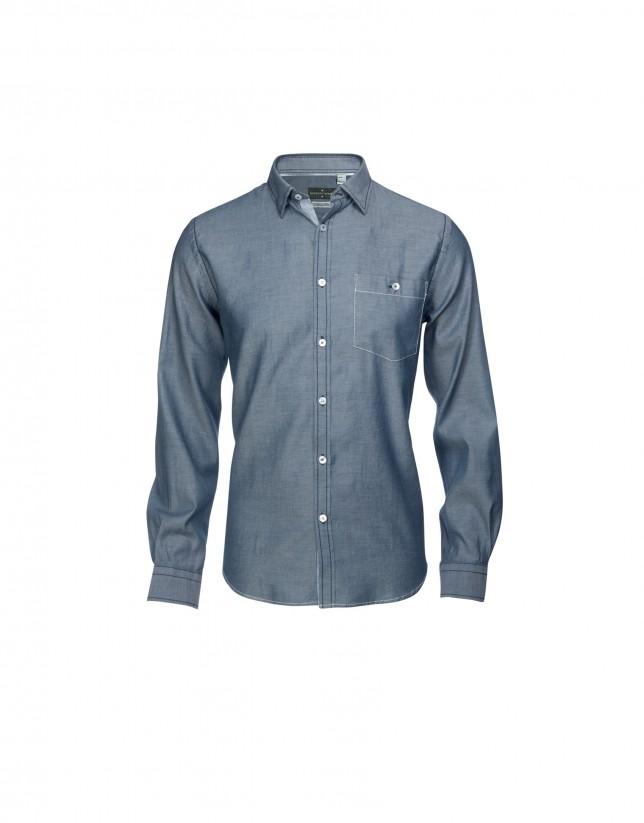 Camisa sport azul blanco