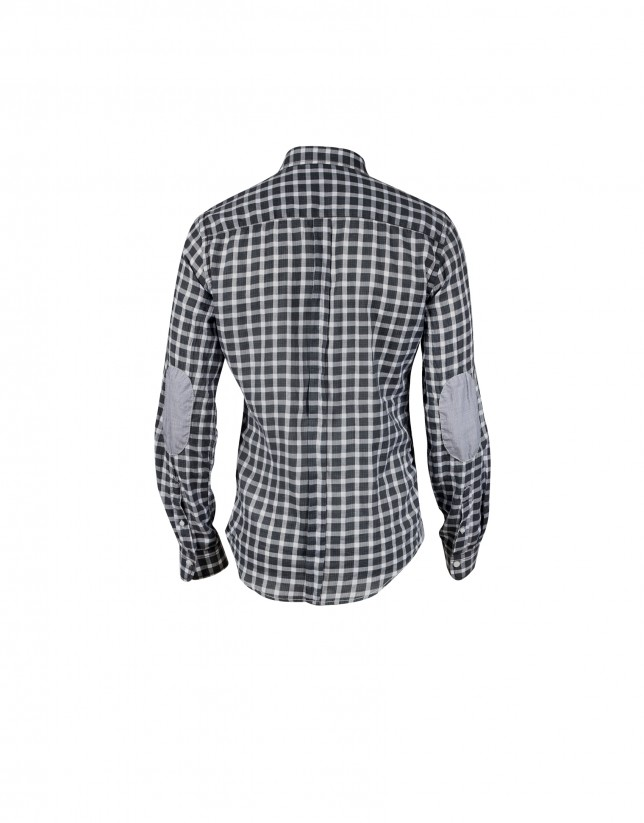 Black /white gingham/Vichy casual shirt. Elbow patches