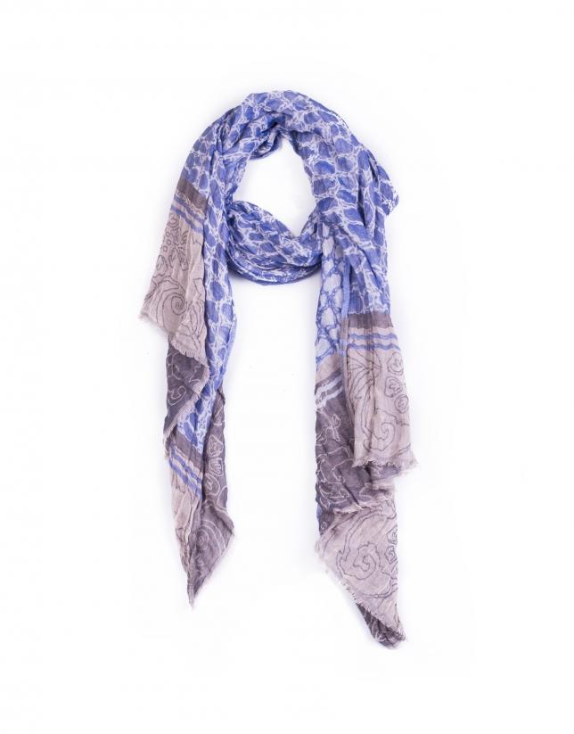 Foulard azul y gris