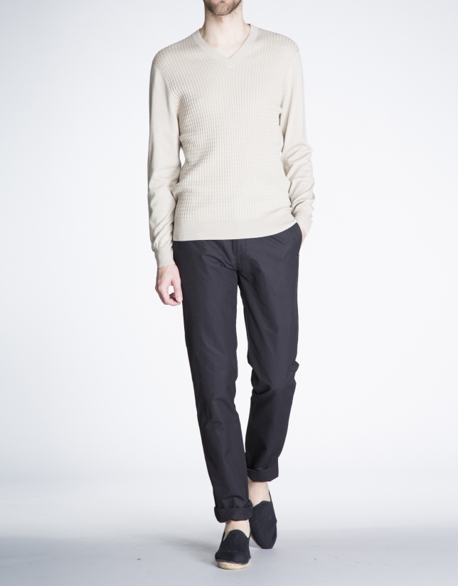 Structured beige knit sweater